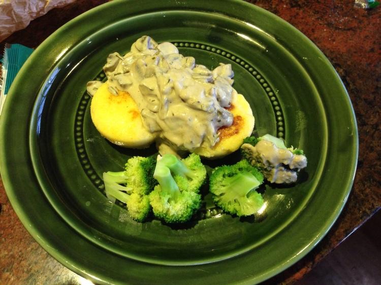 Polenta with mushroom sauce.