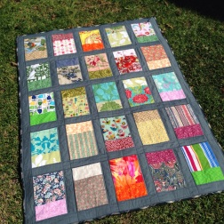 """Windows"" quilt on lawn"