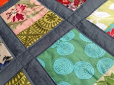 Simple quilting on the sashing