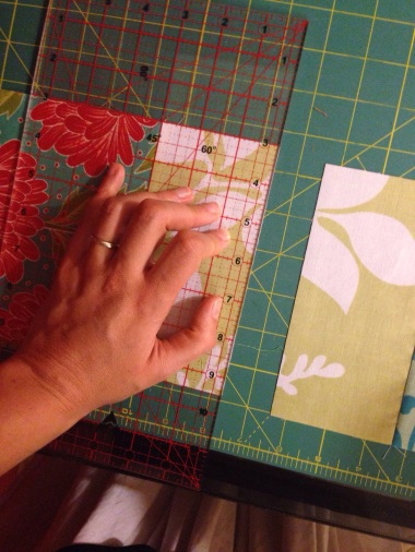 Cut across the middle square to make two blocks