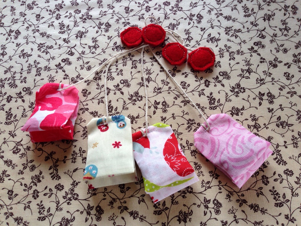 Pink themed tea bags