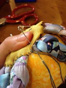 Whip-stitching around the bottom