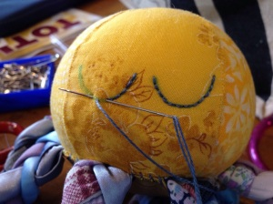 Backstitching the eyes