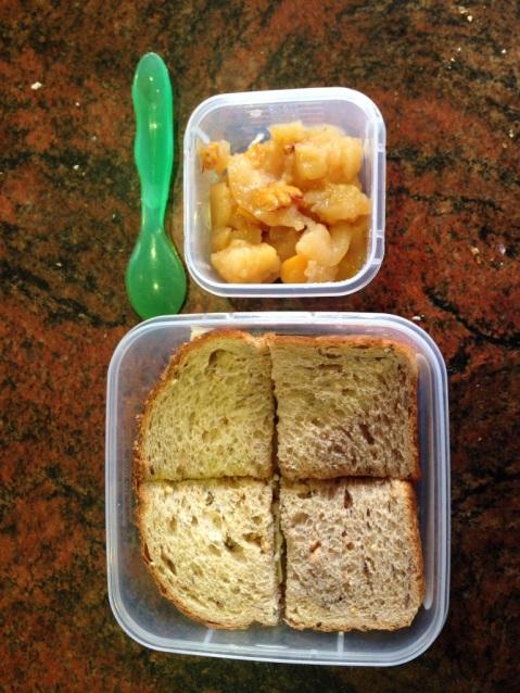 Vegemite sandwich and stewed fruit