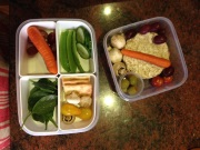 Assortment of vegetables, rice cakes and Salada biscuits