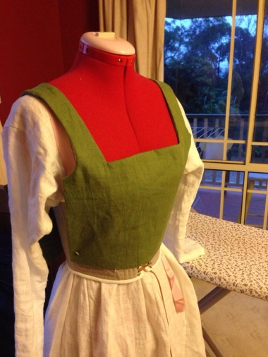 Kirtle bodice over corset and chemise