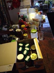 Stockpiled goods on the kitchen counter