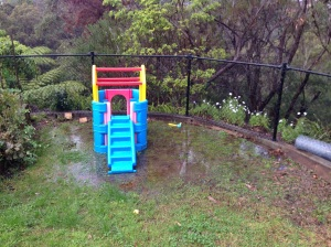 Flooded lawn and play equipment