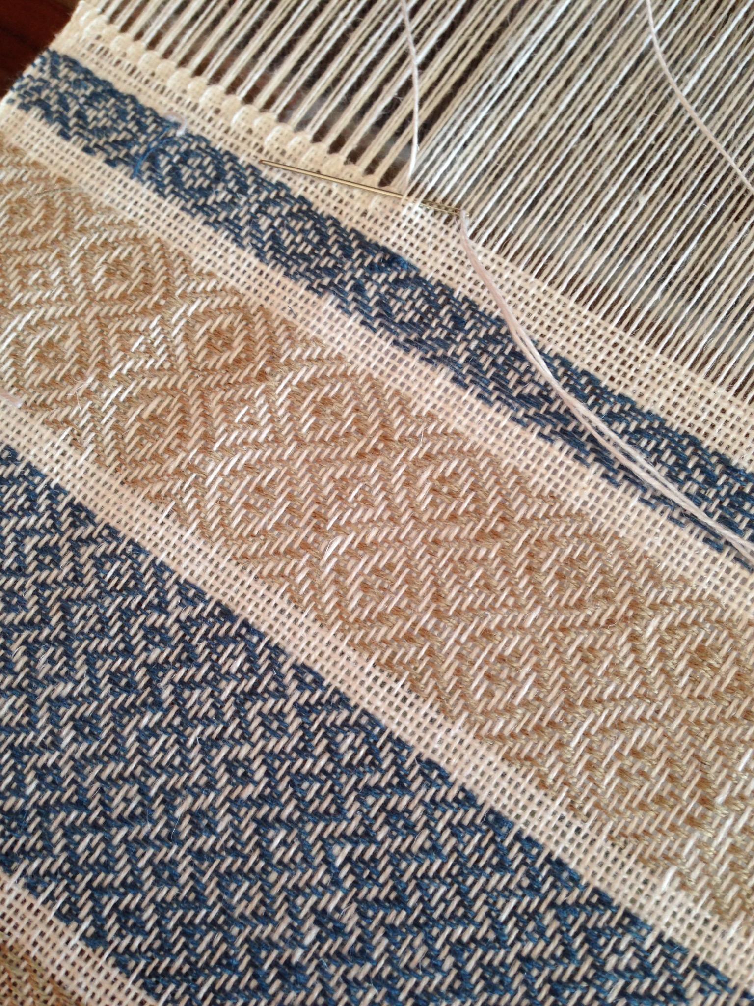 Hem-stitching the tea towel edge