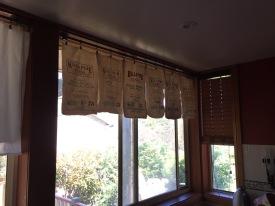 Flour sacks, pegged up like a clothesline