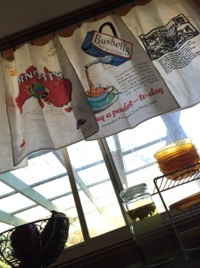 View from down low, showing light coming through the tea towels.