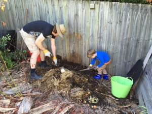 Digging over the compost