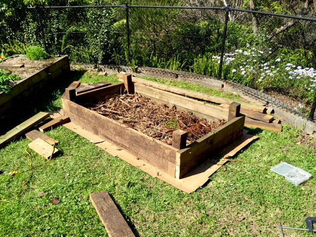 Moving a raised garden bed simple crafty life for How to fill a raised garden bed