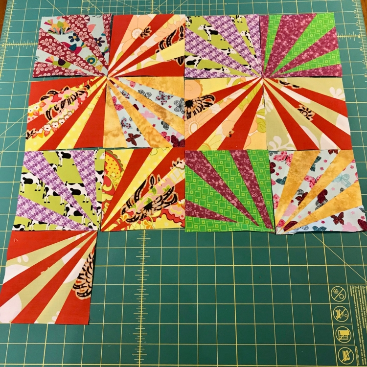 Raditing quilt blocks being assembled