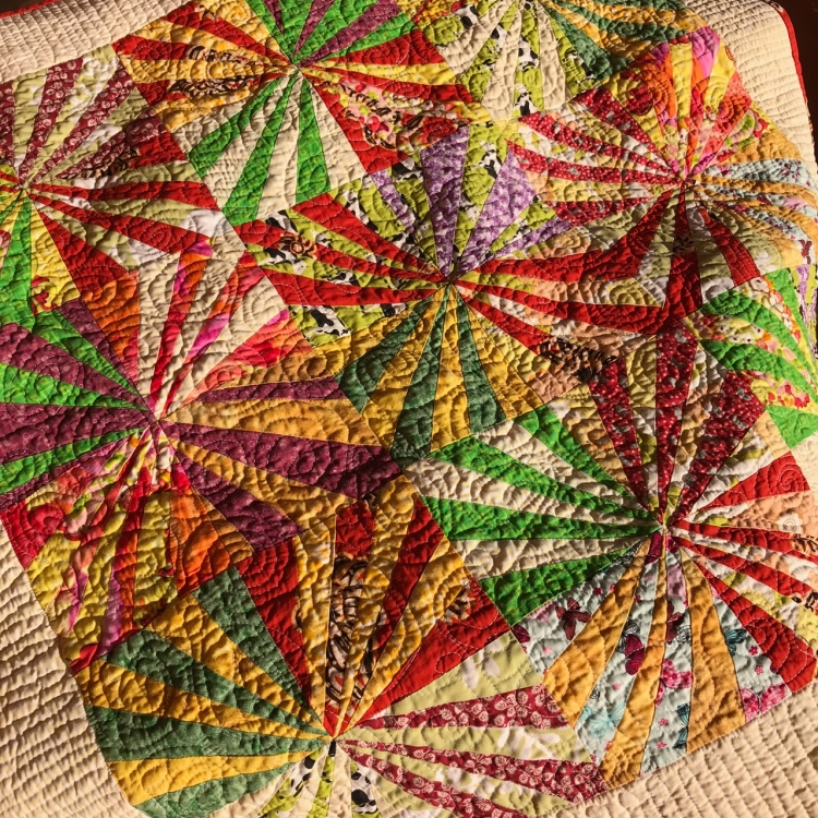 Close up of the spiral quilting
